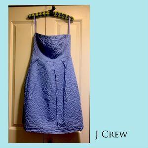 J Crew blue low-cut cocktail dress